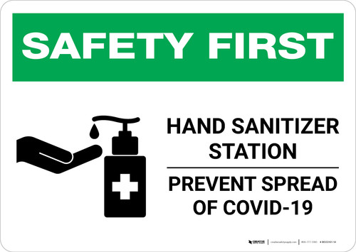 Safety First: Hand Sanitizer Station COVID-19 Landscape - Wall Sign