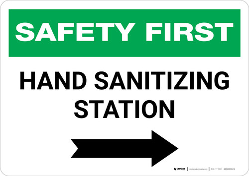 Safety First: Hand Sanitizing Station Right with Arrow Landscape - Wall Sign