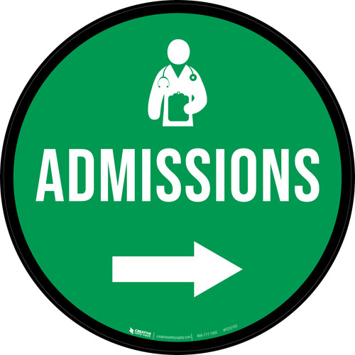 Admissions Right Arrow with Icon Circular - Floor Sign