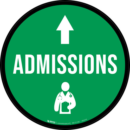 Admissions Straight Ahead Arrow with Icon Circular - Floor Sign