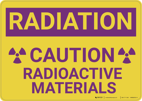 Caution: Radioactive Materials - Wall Sign