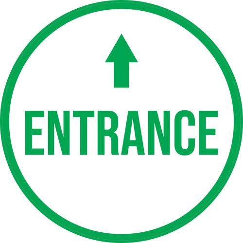 Entrance Ahead with Arrow Circular - Floor Sign