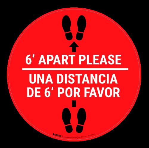 6 Ft Apart Please Una Distancia de 6 ft Por Favor - Floor Sign