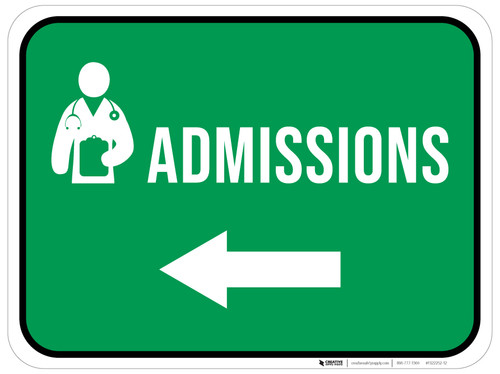 Admissions Left Arrow with Icon Rectangular - Floor Sign