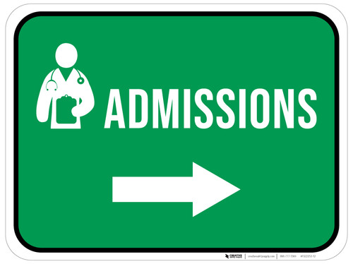 Admissions Right Arrow with Icon Rectangular - Floor Sign