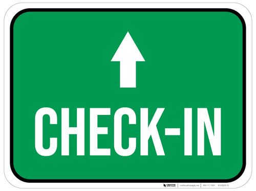 Check-In Ahead with Arrow Rectangular - Floor Sign