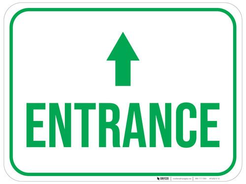 Entrance Ahead with Arrow Rectangular - Floor Sign