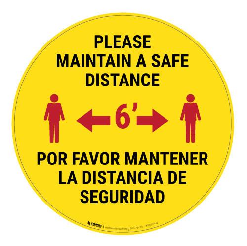 Please Maintain a Safe Distance - Bilingual - Floor Sign