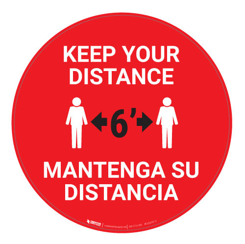 Keep Your Distance - Bilingual - Floor Sign