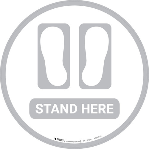 Stand Here with Feet Icon (Gray) - Floor Sign