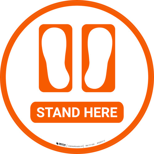 Stand Here with Feet Icon - Floor Sign