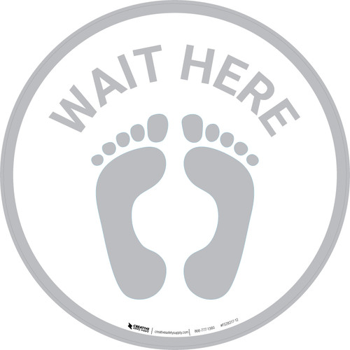 Wait Here with Feet Icon (Gray) - Floor Sign