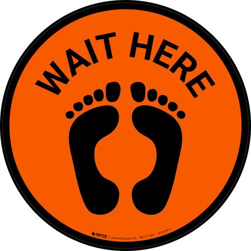 Wait Here with Feet Icon (Orange) - Floor Sign