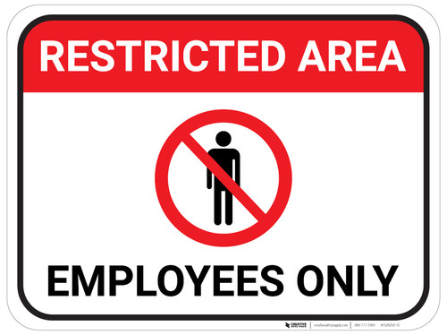 Restricted Area Employees Only with Icon - Floor Sign