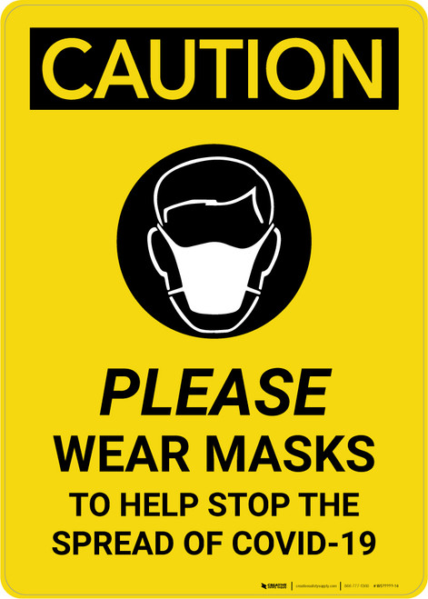 Caution: Please Wear Masks COVID-19 with Icon Portrait - Wall Sign
