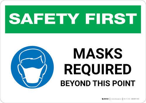 Safety First: Masks Required Beyond This Point with Icon Landscape - Wall Sign