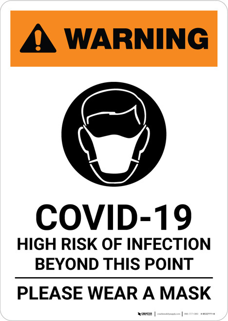 Warning: COVID-19 High Risk Of Infection Please Wear Mask with Icon Portrait - Wall Sign