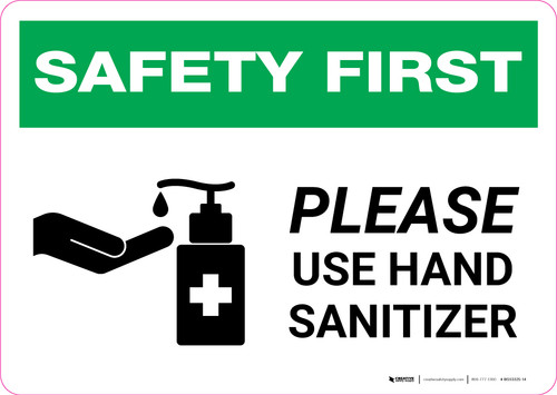 Safety First: Please Use Hand Sanitizer with Icon Landscape - Wall Sign