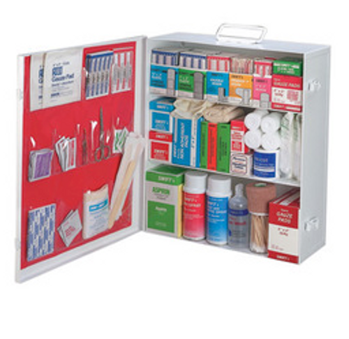 RADNOR® White Metal Portable Or Wall Mounted 75 - 100 Person 2 Shelf First Aid Cabinet