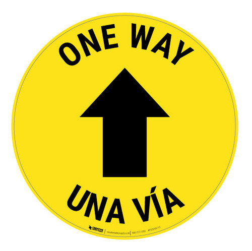 One Way - Arrow - Yellow - Bilingual - Floor Sign