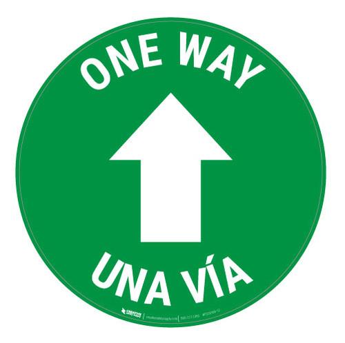 One Way - Arrow - Green - Bilingual - Floor Sign