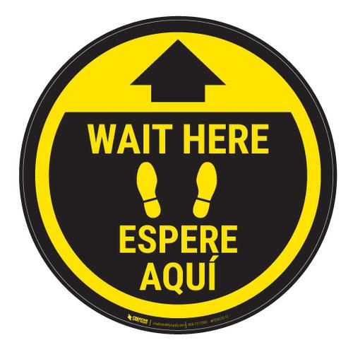 Wait Here - Yellow Circle - Bilingual - Floor Sign