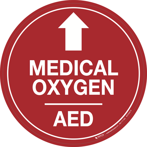 Medical Oxygen/AED (Arrow Up) - Floor Signs