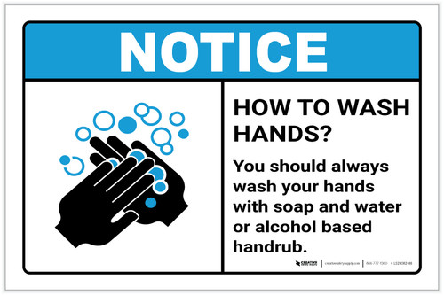Notice: Always Wash Your Hands ANSI Landscape - Label