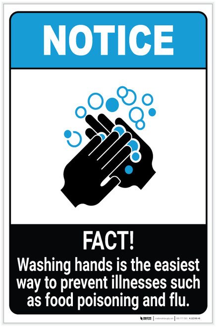 Notice: FACT Washing Hands Prevents Illnesses ANSI Portrait - Label