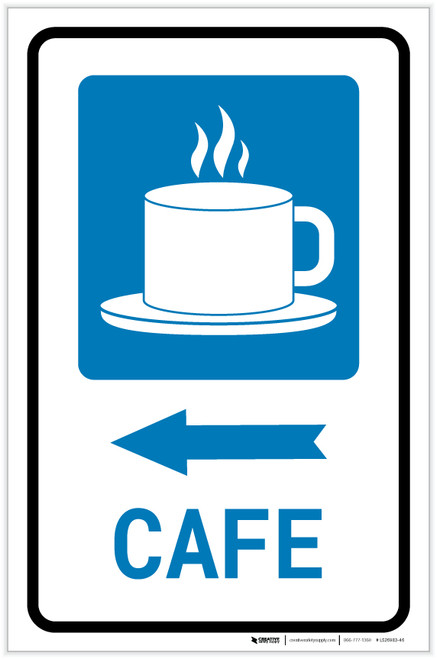 Cafe Left Arrow with Icon Portrait - Label