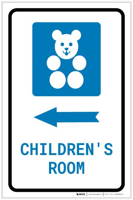 Children's Room Left Arrow with Icon Portrait - Label
