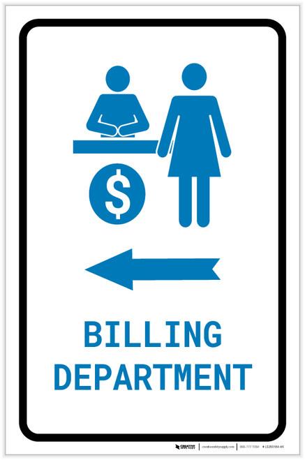 Billing Department Left Arrow with Icon Portrait v2 - Label