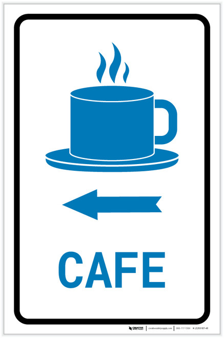 Cafe Left Arrow with Icon Portrait v2 - Label