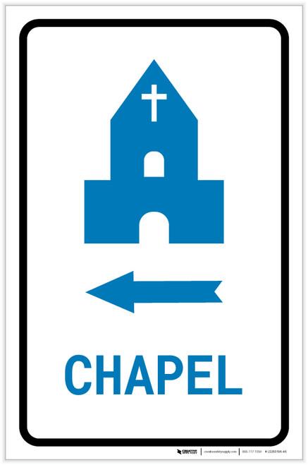 Chapel Left Arrow with Icon Portrait v2 - Label