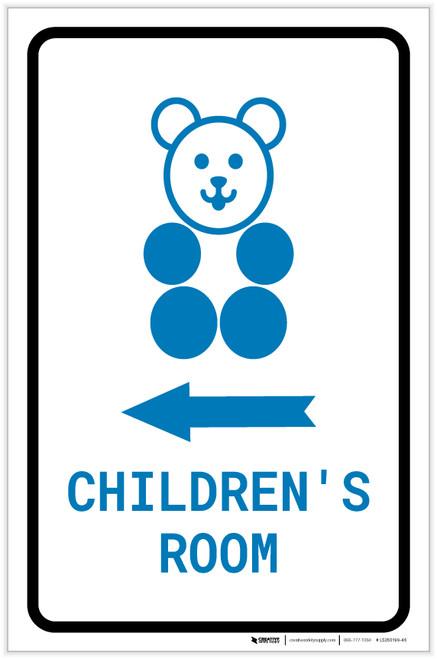 Children's Room Left Arrow with Icon Portrait v2 - Label
