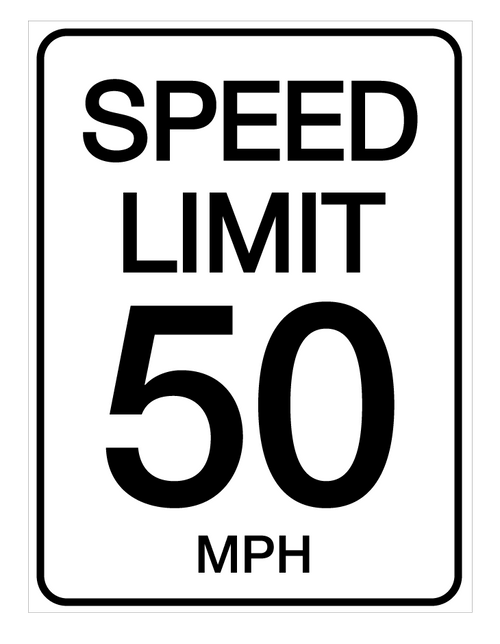 Speed Limit 50 mph - Wall Sign