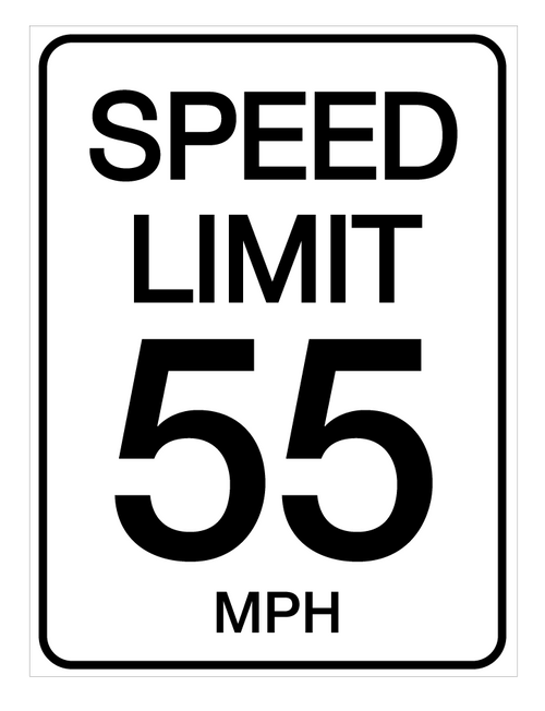 Speed Limit 55 mph - Wall Sign