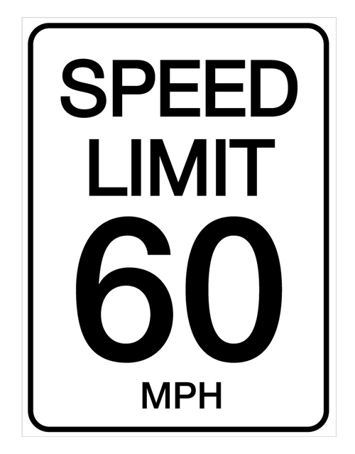 Speed Limit 60 mph - Wall Sign