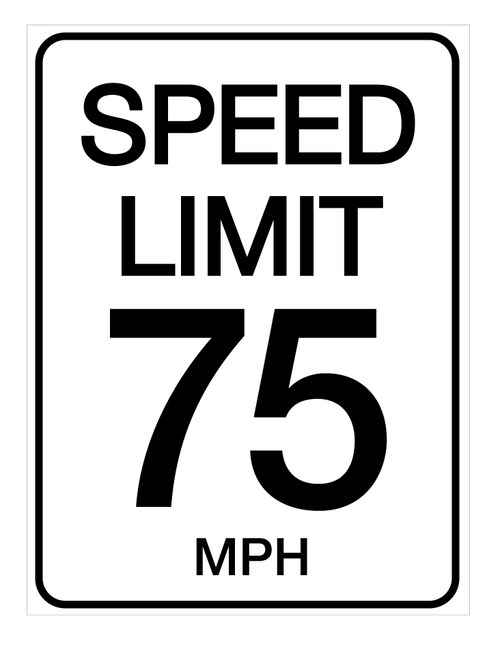Speed Limit 75 mph - Wall Sign