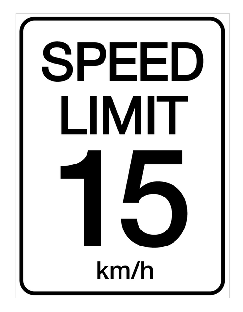 Speed Limit 15 kmh - Wall Sign