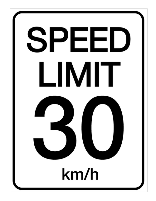 Speed Limit 30 kmh - Wall Sign