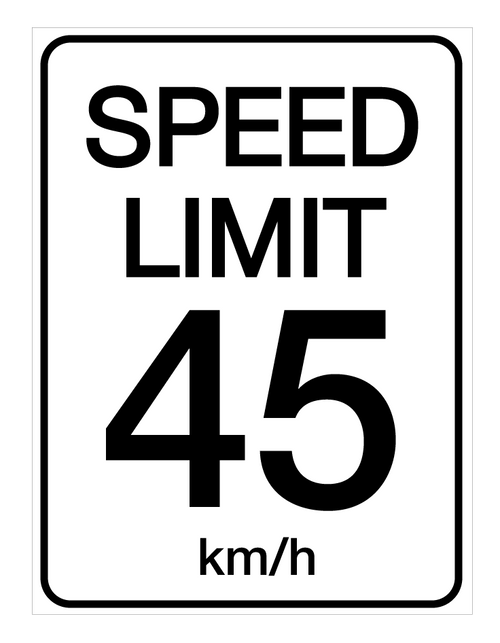Speed Limit 45 kmh - Wall Sign