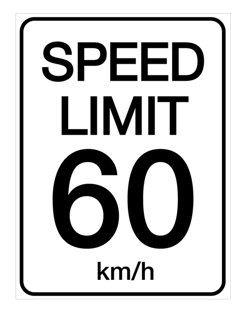 Speed Limit 60 kmh - Wall Sign