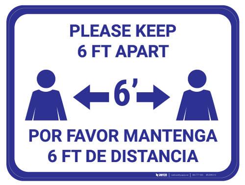 Please Keep 6 FT Apart - Blue - Bilingual - Floor Sign