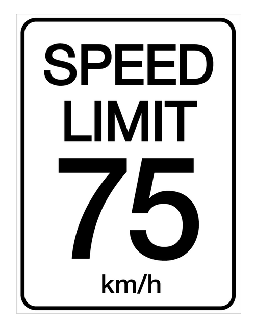 Speed Limit 75 kmh - Wall Sign