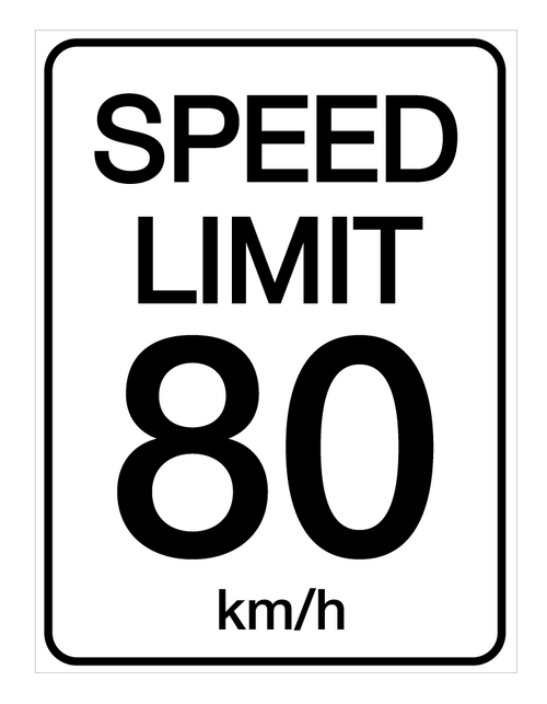 Speed Limit 80 kmh - Wall Sign