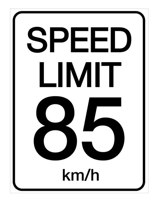 Speed Limit 85 kmh - Wall Sign
