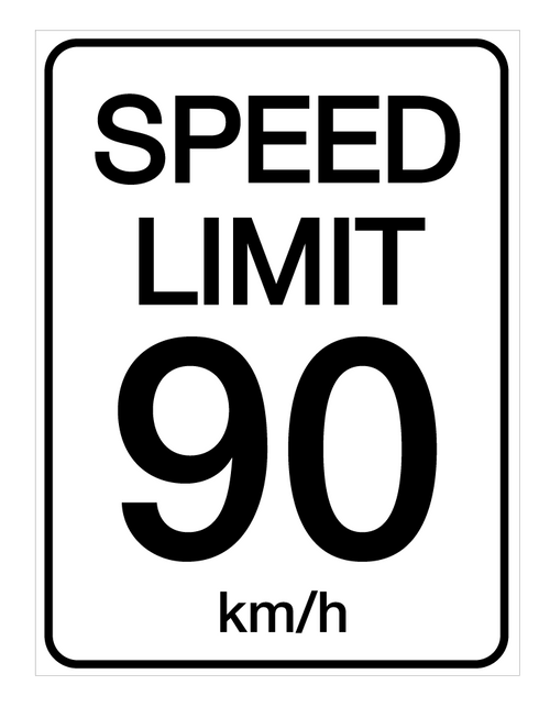 Speed Limit 90 kmh - Wall Sign