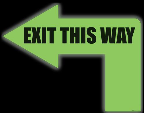 Exit This Way (Glow: 90 Degree Left Arrow) - Floor Sign