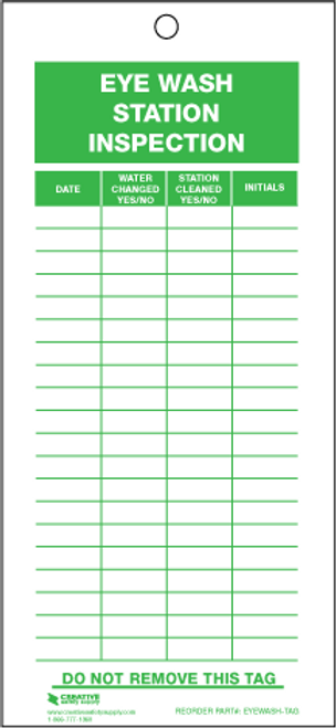 Eye Wash Station Inspection Tags